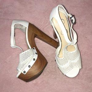 "Jessica Simpson 7M platform sandal heels EUC 6"""